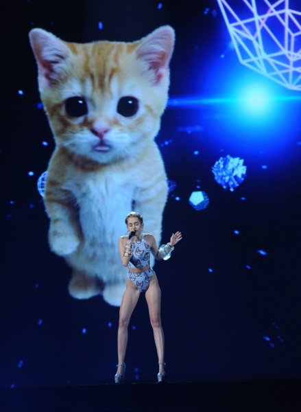 Singer Miley Cyrus performs Wrecking Ball onstage at the 41st annual American Music Awards held at Nokia Theatre L.A. Live in Los Angeles on November 24, 2013. UPI/Jim Ruymen