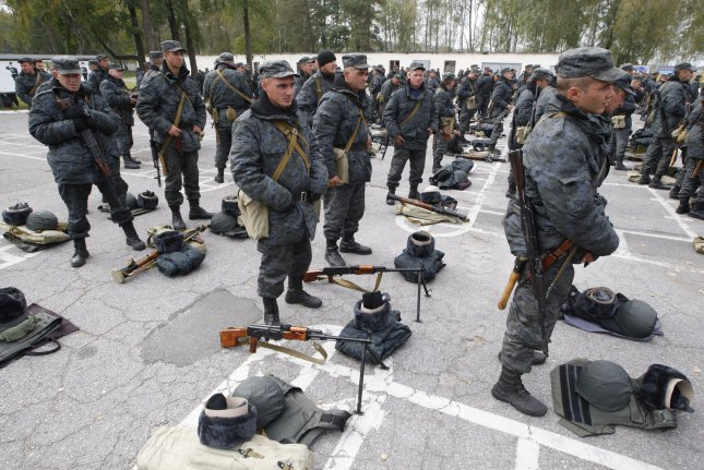 Ukrainian national guard personnel are pictured Sept. 30, 2014, at a training military base near Kiev. File photo by Ivan Vakolenko/UPI