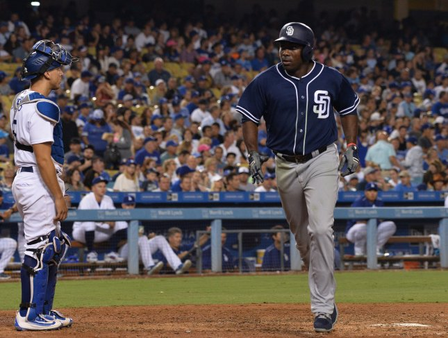 Jose Pirela and the San Diego Padres face the Miami Marlins on Thursday. Photo by Jim Ruymen/UPI