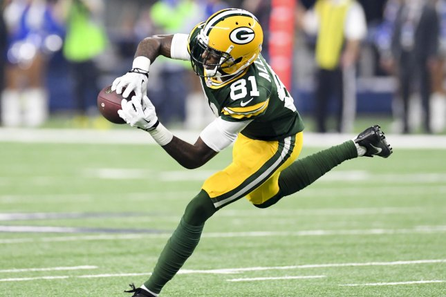 Green Bay Packers receiver Geronimo Allison makes a catch during a game against the Dallas Cowboys in the NFC playoffs last season. Photo by Shane Roper/UPI