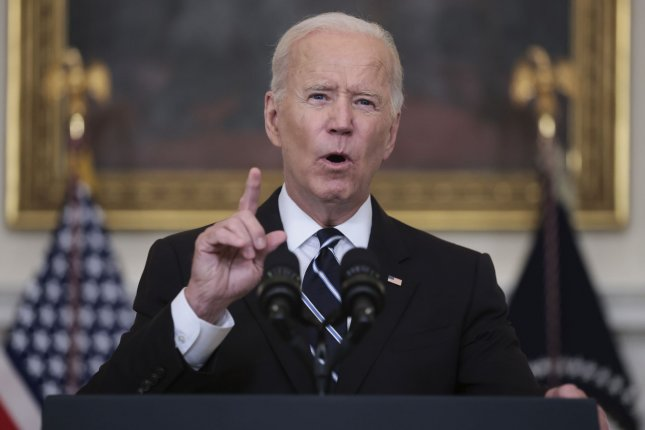 President Joe Biden delivers remarks on on his plan to stop the spread of the Delta variant and boost COVID-19 vaccinations, in the State Dinning Room of the White House on Thursday in Washington, D.C. Photo by Oliver Contreras/UPI