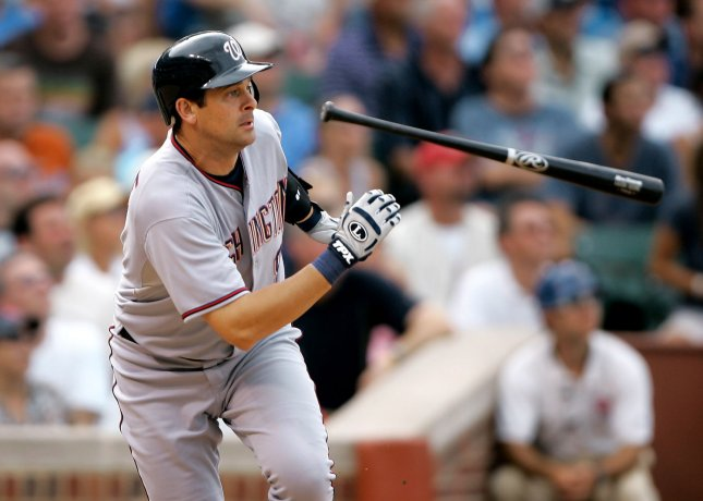 Houston infielder Aaron Boone, shown in a game last season when he played for Washington, said Wednesday he will undergo heart surgery and miss the entire 2009 season. (UPI Photo/Brian Kersey)