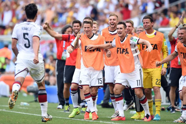 Mats Hummels of Germany celebrates scoring his side's second goal during the 2014 FIFA World Cup Group G match at the Arena Fonte Nova in Salvador, Brazil on June 16, 2014. (File/UPI/Chris Brunskill)