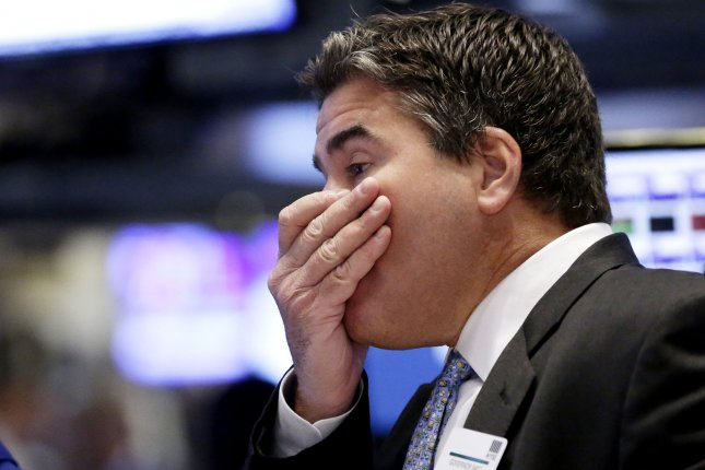 Stocks plummeted on Wall Street Monday -- as the Dow lost more than 300 points, the Nasdaq nearly 150 and the S&P 500 nearly 50. The losses temporarily put the Dow beneath the 16000-mark for the first time in weeks. Photo by John Angelillo/UPI