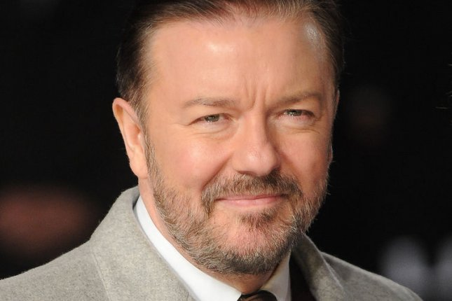 English comedian and actor Ricky Gervais attends the European premiere of Night at the Museum: Secret of the Tomb in London on December 15, 2014. Photo by Paul Treadway/UPI