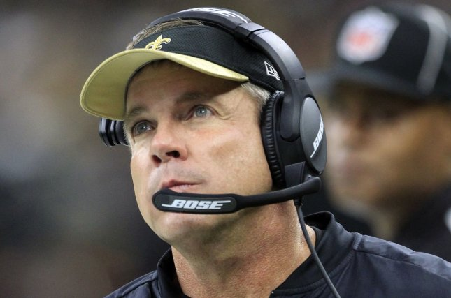 New Orleans Saints head coach Sean Payton looks up at the scoreboard late in the game with the Atlanta Falcons at the Mercedes-Benz Superdome in New Orleans September 26, 2016. Photo by AJ Sisco/UPI