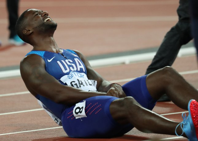American Justin Gatlin laughs after winning the Men's 100 meters at the 2017 IAAF World Athletics Championships at the Olympic Stadium in London in August. Gatlin won with a time of 9.92 seconds and Usain Bolt finished in third place. Photo by Hugo Philpott/UPI