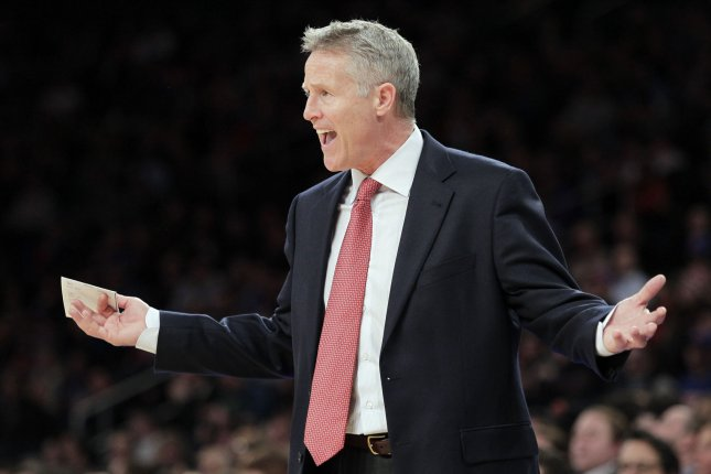 Philadelphia 76ers coach Brett Brown. Photo by John Angelillo/UPI