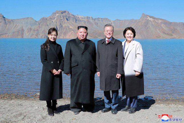 North Korean leader Kim Jong Un (C-L) and South Korean President Moon Jae-in (C-R) visit Mount Paektu with North Korea first lady Ri Sol Ju (L) and South Korea's Kim Jung-sook, in September 2018. Earthquakes have been recorded in the area according to a North Korean scientist on Wednesday. File Photo by KCNA/UPI