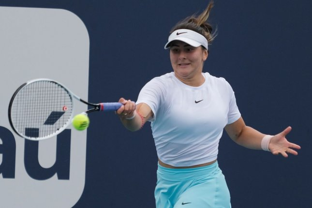 Canada's Bianca Andreescu withdrew from participation in the tennis tournament at the postponed 2020 Summer Games due to concerns about COVID-19 in Japan. File Photo by Gary I Rothstein/UPI