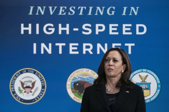 U.S. Vice President Kamala Harris hosts an event about high-speed Internet availability at the White House on June 3. File Photo by Alex Edelman/UPI
