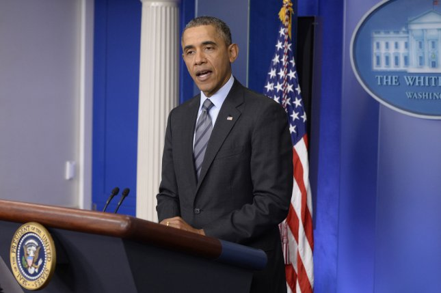 US President Barack Obama delivers remarks on the crisis in Ukraine, at the White House in Washington DC, on March 6, 2014. Obama said a Crimea referendum would violate international law. UPI/Michael Reynolds/Pool