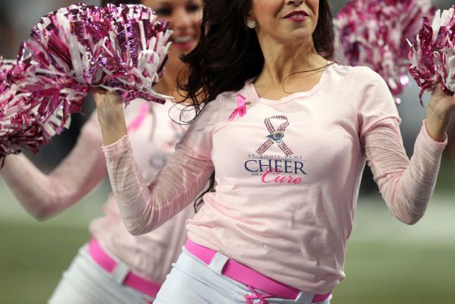 St. Louis Rams cheerleaders entertain the crowds as they wear pink items for Breast Cancer Awareness Month during the Jacksonville Jaguars-St. Louis Rams football game at the Edward Jones Dome in St. Louis on October 6, 2013. UPI/Bill Greenblatt