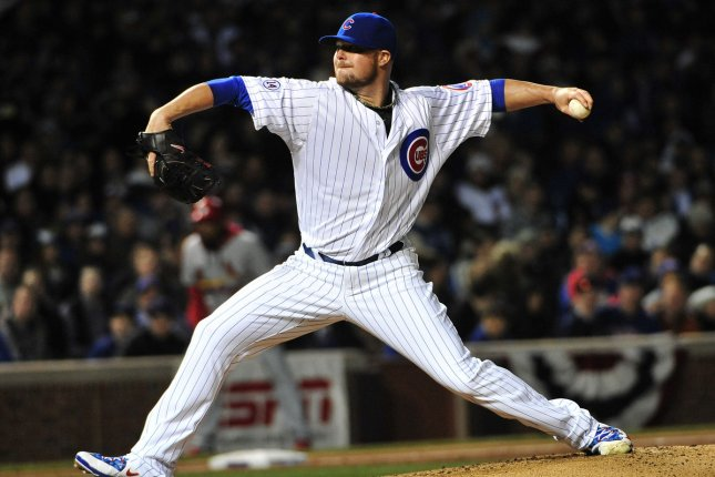 Chicago Cubs starting pitcher Jon Lester (34). Photo by David Banks/UPI
