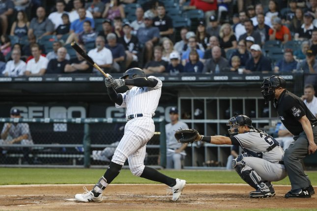 Chicago White Sox right fielder Avisail Garcia singles against the New York Yankees in the first inning on August 8 at Guaranteed Rate Field in Chicago. Photo by Kamil Krzaczynski/UPI