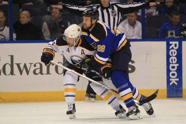 Former Buffalo Sabres defenseman Josh Gorges (4) retired from the NHL on Monday after 13 seasons in the league. File photo by Bill Greenblatt/UPI