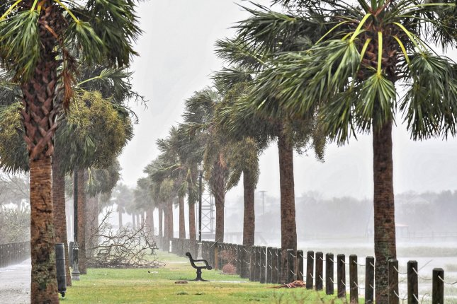 Hurricane Dorian blows palm trees and sea spray across the Pitt Street bridge in the Charleston area September 5. AccuWeather increased its prediction for the number hurricanes in the 2020 season. File Photo by Richard Ellis/UPI