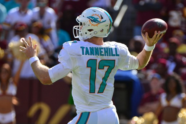 Miami Dolphins quarterback Ryan Tannehill threw for four touchdowns in today's rout of the Houston Texans. Photo by Kevin Dietsch/UPI