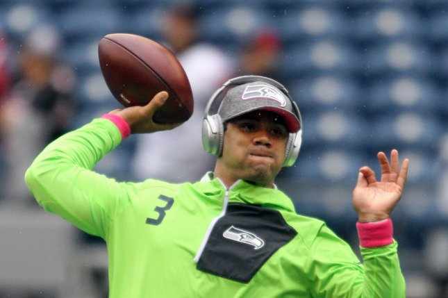 Seattle Seahawks quarterback Russell Wilson warms up before their game against the Atlanta Falcons at CenturyLink Field in Seattle, Washington on October 16, 2016. Photo by Jim Bryant/UPI