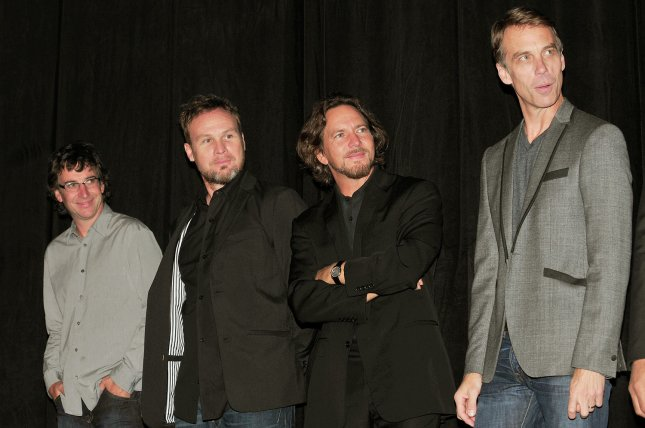 (L-R) Pearl Jam's Stone Gossard, Jeff Ament, Eddie Vedder and Matt Cameron attend the Pearl Jam Twenty premiere at the Princess of Wales theater during the Toronto International Film Festival on September 10, 2011. Pearl Jam is set to be inducted into Rock & Roll Hall of Fame alongside Yes, Tupac Shakur and more. File Photo by Christine Chew/UPI