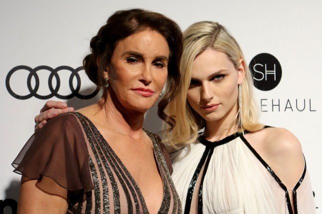Caitlyn Jenner (L), pictured with Andreja Pejic, explained in an interview Thursday why she kept her sex reassignment surgery secret. File Photo by Howard Shen/UPI