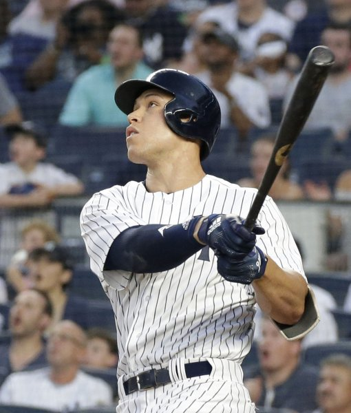 Aaron Judge and the New York Yankees square off with the Atlanta Braves on Tuesday. Photo by John Angelillo/UPI