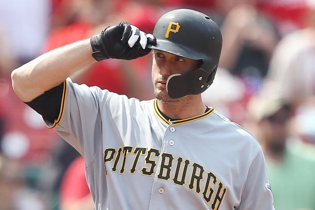 Pittsburgh Pirates third baseman David Freese acknowledges a standing ovation from the crowd as he pinch hits in the eighth inning against the St. Louis Cardinals on June 2 at Busch Stadium in St. Louis. Photo by Bill Greenblatt/UPI