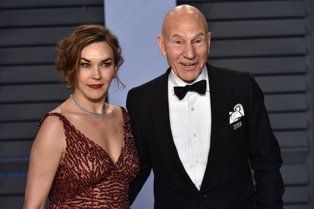 Patrick Stewart (R), pictured with Sunny Ozell, will reprise Jean-Luc Picard in a new CBS All Access series. File Photo by Christine Chew/UPI