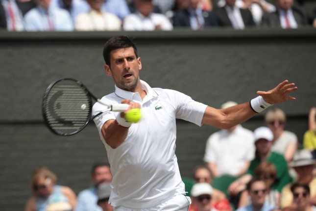 Novak Djokovic can win his fifth career Wimbledon title after Friday's victory in the semi-finals round. Photo by Hugo Philpott/UPI