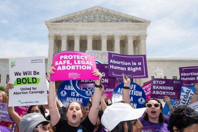 Abortion rights activists rally in front of the U.S. Supreme Court in Washington, D.C., on May 21. File Photo by Kevin Dietsch/UPI