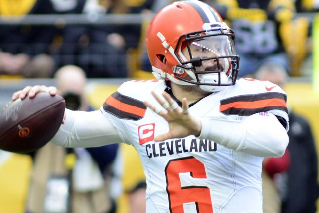 Cleveland Browns quarterback Baker Mayfield is worth a streaming start this week and is one of my top waiver-wire priorities for Week 7. File Photo by Archie Carpenter/UPI