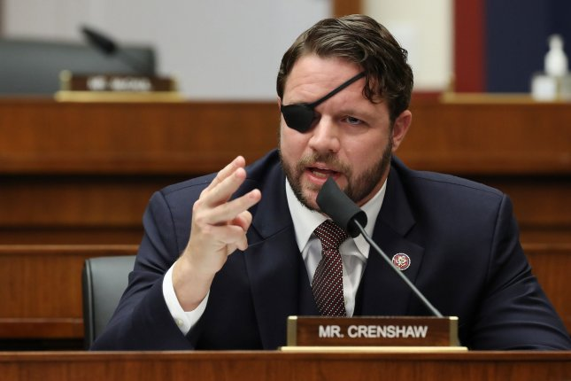 House Homeland Security Committee member Rep. Dan Crenshaw (R-Texas), shown here at a hearing on Capitol Hill in September, announced Saturday that he will be pretty much off the grid as he recovers from emergency eye surgery. Pool Photo by Chip Somodevilla/UPI
