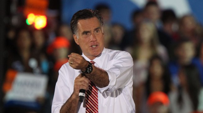 Republican presidential nominee Mitt Romney speaks at a campaign event at the Augusta Expoland in Fishersville, Virginia on October 4, 2012. UPI/Molly Riley
