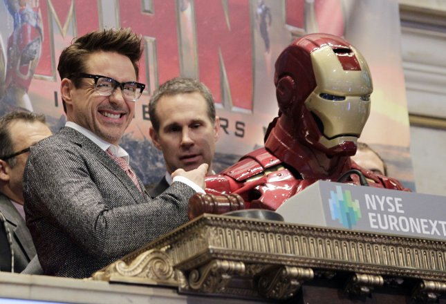 Actor Robert Downey Jr. promotes the release of Iron Man 3 by ringing the opening bell at the New York Stock Exchange on Wall Street in New York, April 30, 2013. UPI/John Angelillo