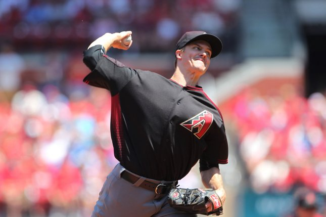Arizona Diamondbacks starting pitcher Zack Greinke delivers a pitch to the St. Louis Cardinals at Busch Stadium in St. Louis, Mo. File photo by Bill Greenblatt/UPI