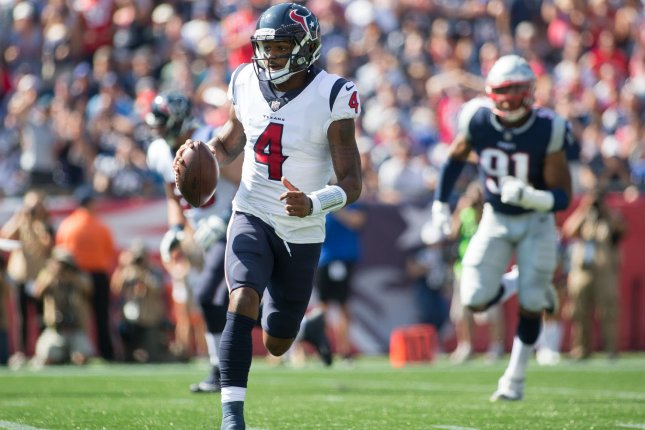 Houston Texans quarterback Deshaun Watson scrambles during a game against the New England Patriots in September 24. Photo by Matthew Healey/ UPI