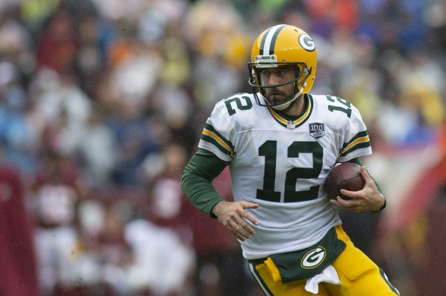 Green Bay Packers quarterback Aaron Rodgers scrambles during a game against the Washington Redskins at FedEx Field in Landover, Maryland on September 23, 2018. Photo by Alex Edelman/UPI