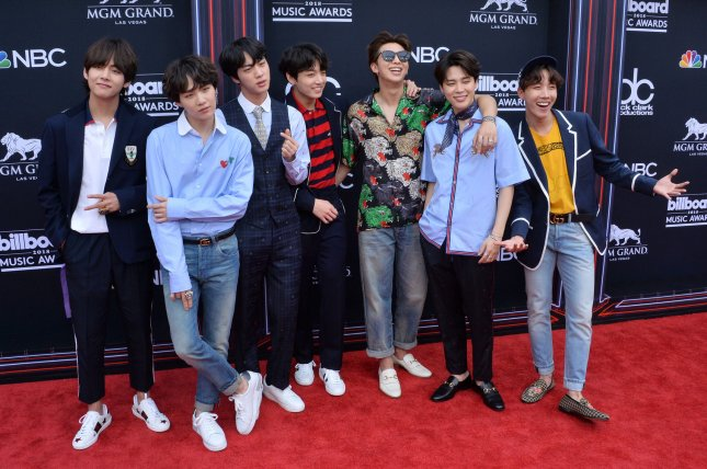 South Korean boy band BTS arrives for the 2018 Billboard Music Awards in Las Vegas last year. File Photo by Jim Ruymen/UPI