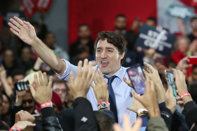 Canadian Prime Minister Justin Trudeau greets citizens Monday at Woodward's Atrium in Gastown, Vancouver, British Columbia, on the final day of his campaign. Photo by Heinz Ruckemann/UPI