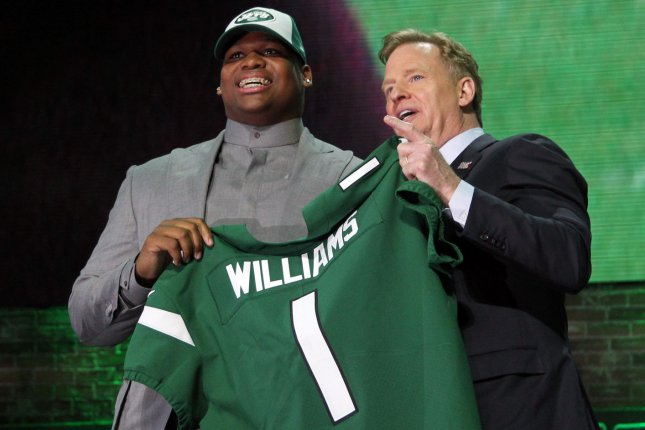 Quinnen Williams (L) had 28 total tackles, four tackles for a loss, 2.5 sacks, a pass defensed and a fumble recovery in 13 games last season for the New York Jets. File Photo by John Sommers II/UPI