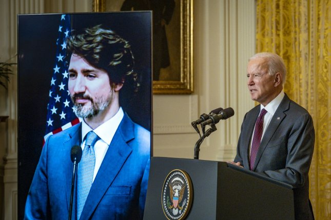 President Joe Biden held his first bilateral meeting with Canadian Prime Minister Justin Trudeau as they reaffirmed their commitment to work together to combat COVID-19 and climate change. Pool Photo by Pete Marovich/UPI