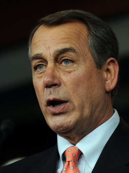 House Minority Leader John Boehner, R-Ohio, discusses taxes and other issues during a media availability on Capitol Hill in Washington on December 2, 2010. UPI/Roger L. Wollenberg