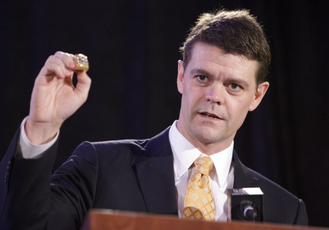 U.S. Immigration and Customs Enforcement Director John Morton displays a fake Super Bowl ring during a press conference with NFL officials to discuss counterfeit merchandise prior to Super Bowl XLVII at the Ernest N. Morial Convention Center in New Orleans on January 31, 2013. The San Francisco 49ers will play the Baltimore Ravens in Super Bowl XLVII on February 3, 2013. UPI/Bevil Knapp