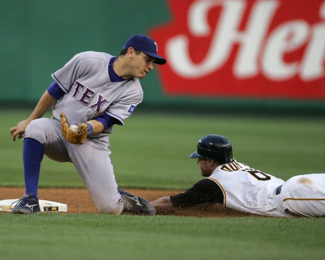 Pittsburgh Pirates runner Chris Duffy steals second as Texas Rangers second baseman Ian Kinsler tries to make a tag during the sixth inning at PNC Park in Pittsburgh on June 14, 2007. (UPI Photo/Stephen Gross)