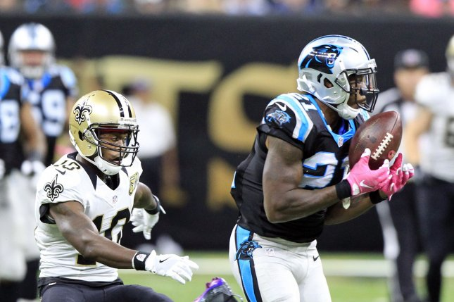 Carolina Panthers defensive back Teddy Williams (21) intercepts a Drew Brees pass intended for New Orleans Saints wide receiver Brandin Cooks (10) and returns it for 19 yards at the Mercedes-Benz Superdome in New Orleans October 16, 2016. Photo by AJ Sisco/UPI