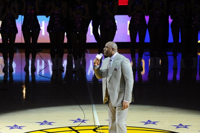 Magic Johnson introduces Los Angeles Lakers Kobe Bryant in his last game against the Utah Jazz at Staples Center in Los Angeles on April 13, 2016. Photo by Lori Shepler/UPI