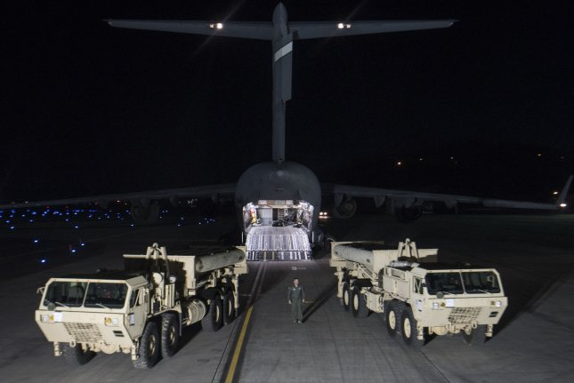 The U.S. military moved parts for THAAD early Wednesday morning. File Photo by U.S. Air Force/UPI