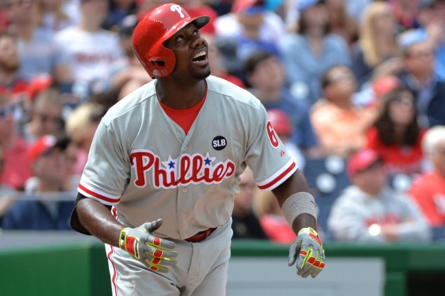 The Atlanta Braves have released former NL MVP Ryan Howard from his minor-league contract. File photo by Kevin Dietsch/UPI