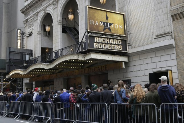 Hamilton earned $3.8 million at the box office, the highest total the musical has reached since debuting in July 2015. File Photo by John Angelillo/UPI