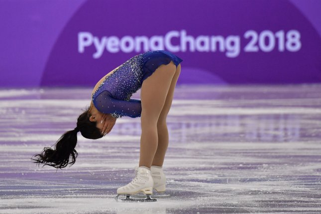 Gabrielle Daleman of Canada jubilates after her performance in the ladies single team figure skating competition during the Pyeongchang 2018 Winter Olympics Monday at the Gangneung Oval in Gangneung, South Korea. Photo by Richard Ellis/UPI